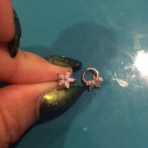Pair of Flower hoop earrings